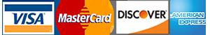 VISA, Master Card, Discover and Amex logos.