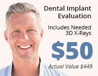 Dental Implant Evaluation. Includes needed 3D X-Rays. $50 (Actual value $449)