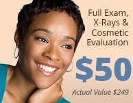 Full Exam, X-Rays $ Cosmetc Evaluation. $50 (Actual value $449)
