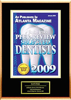 Peer review selected dentists 2009 certificate.